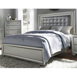 Samuel Lawrence Celestial Upholstered Panel Bed in Silver-P