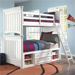 Samuel Lawrence Furniture SummerTime Bunk Bed in White - Twin over Twin