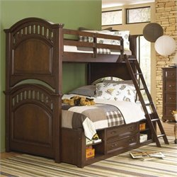 Samuel Lawrence Furniture Expedition Bunk Bed in Cherry - Twin over Twin