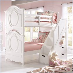 Samuel Lawrence Furniture SweetHeart Bunk Bed with Steps in White