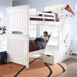 Samuel Lawrence Furniture SummerTime Twin over Twin Bunk Bed with Steps in White