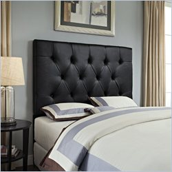 Samuel Lawrence Furniture Tufted Faux Leather Headboard in Dark Brown - Full/Queen