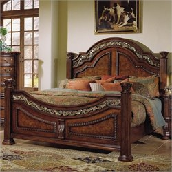 Samuel Lawrence San Marino Panel Bed in Dark Brown - Queen