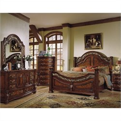 Samuel Lawrence San Marino Panel Bedroom Set in Dark Brown