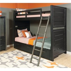 Samuel Lawrence Graphite Twin Over Twin Bunk Bed in Brown