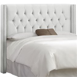Skyline Upholstered Diamond Tufted Wingback Full Headboard in White