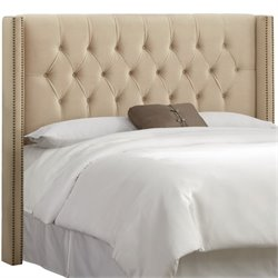 Skyline Upholstered Diamond Tufted Wingback Full Headboard in Pearl