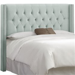 Skyline Upholstered Diamond Tufted Wingback Full Headboard in Pool