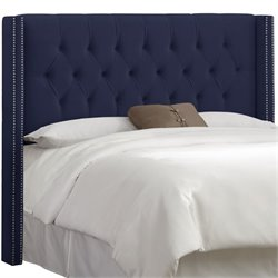 Skyline Upholstered Diamond Tufted Wingback King Headboard in Navy