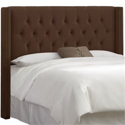 Skyline Upholstered Diamond Full Headboard in Chocolate