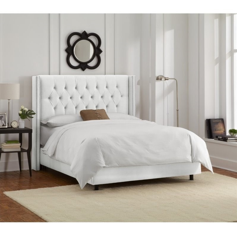 Skyline Upholstered Diamond Tufted Wingback Nail Queen Bed