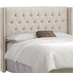 Skyline Upholstered Diamond Tufted Wingback Full Headboard in Talc