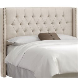 Skyline Upholstered Diamond Tufted Wingback King Headboard in Talc