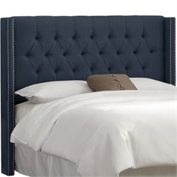 Skyline Upholstered Diamond Tufted Wingback Full Headboard in Navy