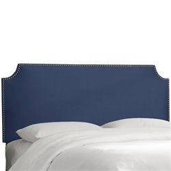 Skyline Upholstered Nailhead Trim Twin Headboard in Lazuli Blue