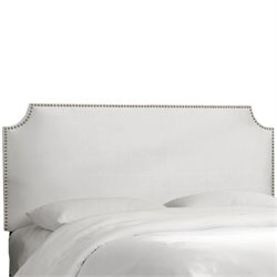 Skyline Notched Nail Button Headboard in White-31