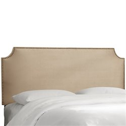 Skyline Upholstered Nailhead Trim Twin Headboard in Oatmeal