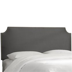 Skyline Upholstered Nailhead Trim Queen Headboard in Charcoal