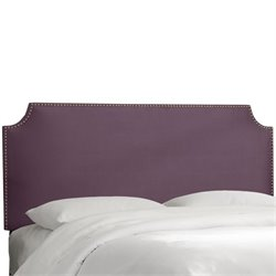 Skyline Upholstered Nailhead Trim Twin Headboard in Purple