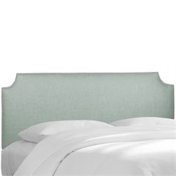 Skyline Upholstered Nailhead Trim Twin Headboard in Swedish Blue
