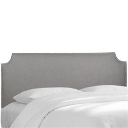 Skyline Upholstered Nailhead Trim Twin Headboard in Gray