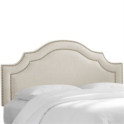 Skyline Upholstered Nailhead Trim King Headboard in Talc