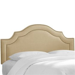 Skyline Upholstered Nailhead Trim King Headboard in Sandstone