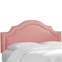 Skyline Upholstered Nailhead Trim King Headboard in Petal