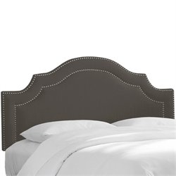 Skyline Upholstered Nailhead Trim King Headboard in Slate