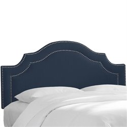 Skyline Upholstered Nailhead Trim King Headboard in Navy
