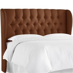 Skyline Upholstered Tufted Wingback Full Headboard in Chocolate