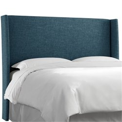 Skyline Upholstered Wingback King Headboard in Navy