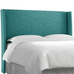 Skyline Upholstered Wingback Full Headboard in Peacock