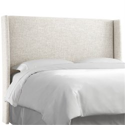 Skyline Upholstered Wingback King Headboard in White