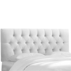 Skyline Upholstered Tufted King Headboard in White