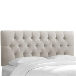 Skyline Upholstered Tufted Twin Headboard in Light Gray