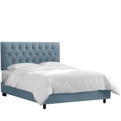Skyline Upholstered Tufted Twin Bed in Ocean