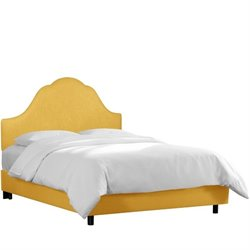 Skyline Upholstered Arched Twin Bed in French Yellow