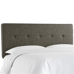 Skyline Upholstered Five Button Twin Headboard in Charcoal