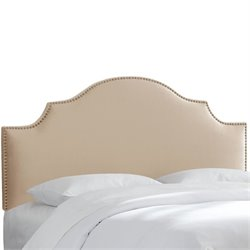 Skyline Upholstered Nailhead Trim King Headboard in Pearl