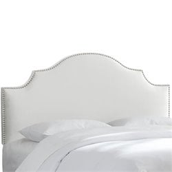 Skyline Upholstered Nailhead Trim King Headboard in White