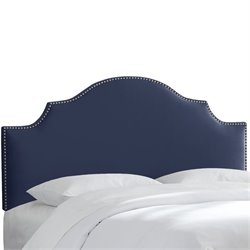 Skyline Upholstered Nailhead Trim Queen Headboard in Navy