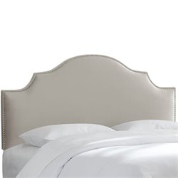Skyline Upholstered Nailhead Trim Queen Headboard in Light Gray