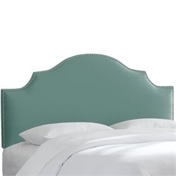 Skyline Upholstered Nailhead Trim Queen Headboard in Caribbean