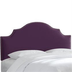 Skyline Upholstered Nailhead Trim Queen Headboard in Aubergine