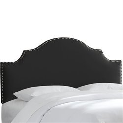 Skyline Nail Button Notched Headboard in Black-154