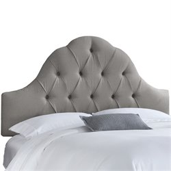 Skyline Upholstered Arch Tufted Twin Headboard in Gray