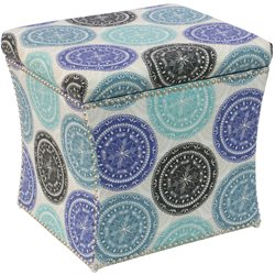 Skyline Furniture Storage Ottoman in Pen Medallion Blue