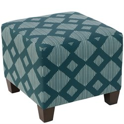 Skyline Furniture Ottoman in Line Lattice Teal