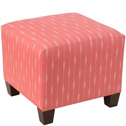 Skyline Furniture Ottoman in Sprint Stripe Coral